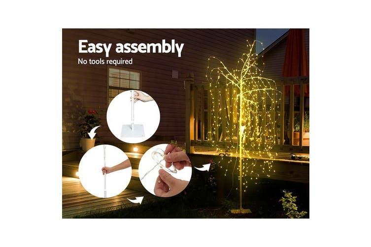 Jingle Jollys 2.1M LED Christmas Tree Willow Xmas Fibre Optic Warm White Lights