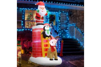 Jingle Jollys Inflatable Christmas Santa on Chimney Decorations Outdoor LED 2.4M