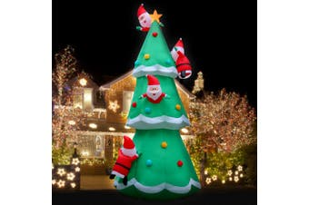 Jingle Jollys Inflatable Christmas Santa on Tree Xmas Decoration Lights LED 5M