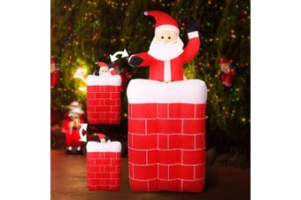 Jingle Jollys Inflatable Christmas Santa Pop Up Chimney LED Lights XMAS Outdoor Decor 1.8M