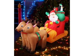 Jingle Jollys Inflatable Christmas Decor Light Santa Sleigh Ride Reindeer 2.2M