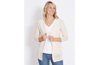 Women's Rockmans 3/4 Sleeve Pointelle Item Cardi | Cardigans Knitwear