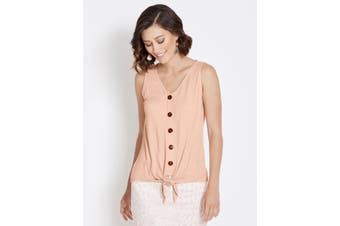 Women's Rockmans Sleeveless Button Front Tie Top | Tops