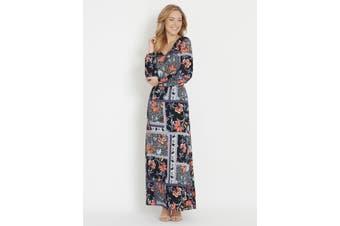 Women's Rockmans 3/4 Sleeve Marley Print Midi Dress   Dresses