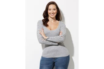 Women's Crossroads Lace Sleeve Knit Top Jumper | Jumper Knitwear