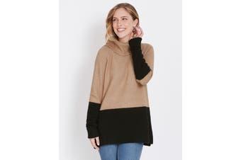 Women's Rockmans Long Sleeve Colour Block Knit | Jumper Knitwear