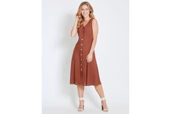 Women's Rockmans Sleeveless Button Through Midi Dress   Dresses
