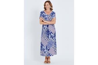 Women's Millers Short Sleeve Waist Detail Tile Print Maxi Dress   Dresses