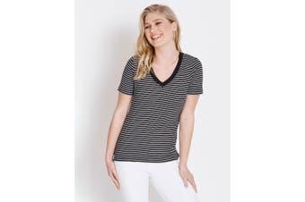 Women's Rockmans Short Sleeve V-Neck Stripe Tee   Basics Tees Tops