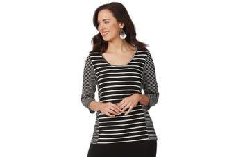 Women's Rockmans 3/4 Sleeve Mix Stripe Top   Tops