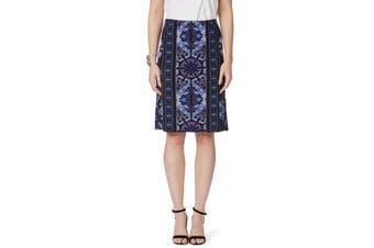 Women's Rockmans Purple Print Pencil Skirt | Bottoms Skirts