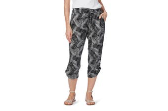 Women's Rockmans Crop Mono Leaf Print Side Stripe Pant | Bottoms Pants