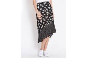 Women's Rockmans Neutral Floral Ruffle Skirt | Bottoms Skirts