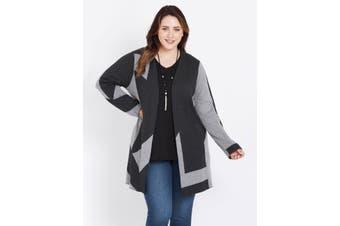 Women's Beme Long Sleeve Grey Block Coatigan - Plus Size   Coatigan Knitwear