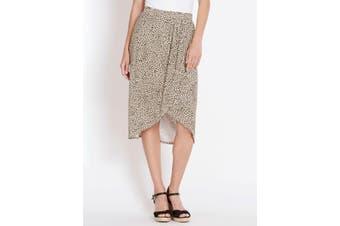 Women's Rockmans Draped Front Leopard Midi Skirt | Bottoms Skirts