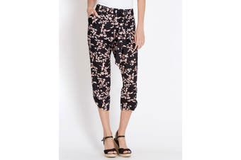Women's Rockmans Crop Printed Tab Detail Viscose Pant | Bottoms Pants