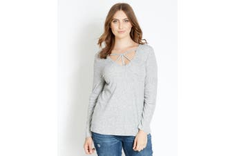 Women's Crossroads Long Sleeve V Neck Essential T-Shirt | Blouses Shirts Tops