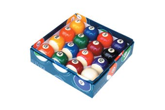 Numbered Pool Snooker Billiard Balls Big's Little's Black White - 2 inch - Colour Box