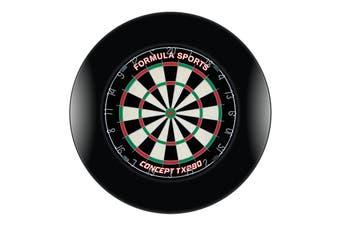 TX290 Genuine Bristle Dart Board and Black Dartboard Surround with Darts