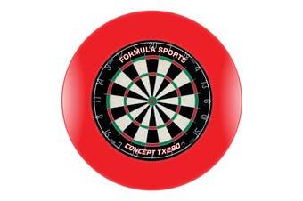 TX290 Genuine Bristle Dart Board and RED Dartboard Surround with Darts