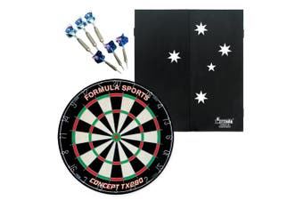 Dart Board and Cabinet Set Southern Cross Aussie TX290