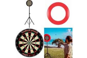 Portable Dart Board Camping Set includes Dart Board MB3, FSA Stand & RED Surround