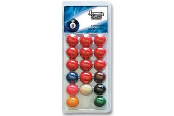 "Pack of Recreational Snooker BALLS 1 & 7/8"" inch Set of 17 includes 1 & 7/8"" White Cue Ball"