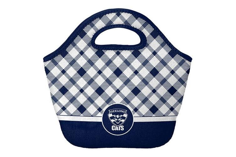 Dick Smith Geelong Cats Afl Neoprene Cooler Shopping Bag Top Pocket With Zip And Handle Sports Collectables