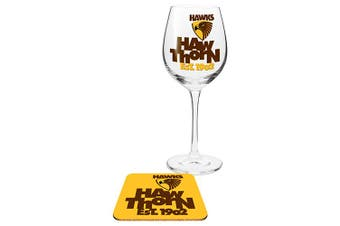 Hawthorn Hawks AFL WINE Glass and Coaster Gift Set