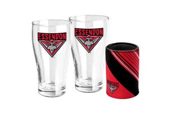 Essendon Bombers AFL Set of 2 Pint Beer Glasses with Neoprene Can Cooler Stubby Holder