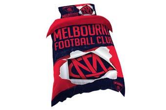 Melbourne Demons AFL SINGLE Bed Quilt Doona Duvet Cover and Pillow Case Set