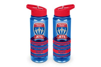 Newcastle Jets A-League Tritan Drink Water Bottle with Wrist Bands
