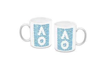 Australian Open Tennis Ceramic Coffee Mug Cup White letters Design
