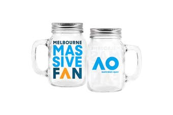 Australian Open Tennis Drink Glass Mason Jar with Handle & Screw on Lid