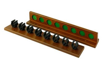 Pot Black Pool Snooker Billiard Cue Rack Walnut Holds 8 Sticks