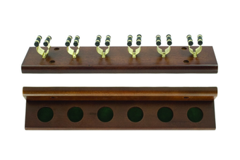 Pool Snooker Billiard Cue Rack Walnut Holds 6 Sticks