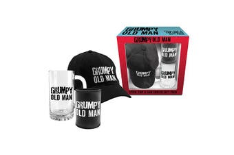 Grumpy Old Man Glass Drink Stein,  Hat Cap and Can Cooler Gift Pack
