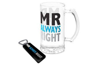 Mr Always Right Glass Drink Stein and Bottle Opener