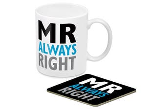 Mr Always Right Coffee Mug Cup and Cork Coaster