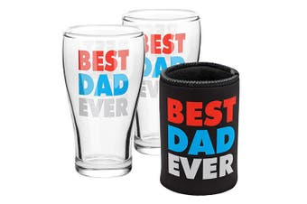 Best Dad Ever Can Cooler and Set of 2 Glass Schooner Glasses Pack