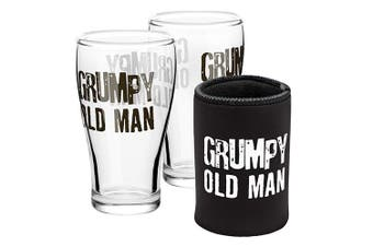 Grumpy Old Man Can Cooler and Set of 2 Glass Schooner Glasses Pack
