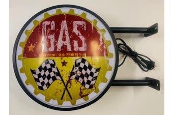 Gas Open 24 Hours Checkered Flag Bar Lighting Wall Sign Light LED