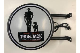 IRON JACK LAGER BEER Bar Lighting Wall Sign Light LED