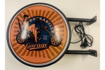 Rockabilly Garage Biker Bar Lighting Wall Sign Light LED