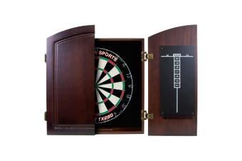 Dart Board Set SOLID WOOD CHERRY Darts Cabinet AND Bristle TX290 Dartboard