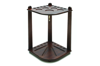 Walnut Corner Pool Snooker Billiard Cue Stand Rack with Triangle Hook