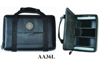 Alana Deluxe Leather Large Dart Board Dart Carry Case Wallet BLACK