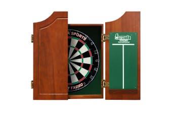 Dart Board Set SOLID WOOD WALNUT Dart Board Cabinet AND Bristle TX290 Dart Board