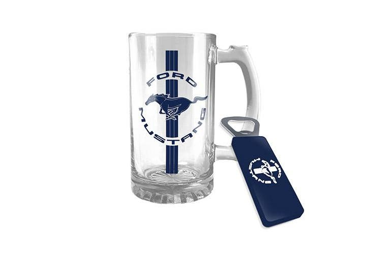 FORD MUSTANG Glass Drink Stein and Bottle Opener Gift Pack