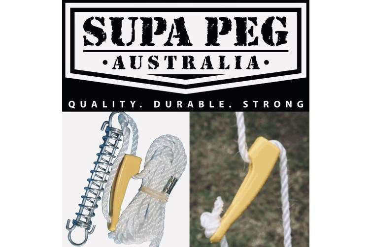 SUPA PEG Tent Pole Guy Ropes Heavy Duty with Spring for Camping Australian Made